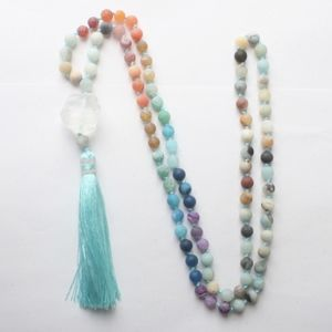 Jewelry - Amazonite & Quartz Beaded Tassel Necklace